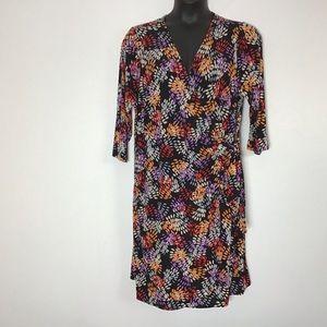 Avenue 22/24 multi color faux wrap dress